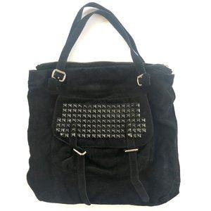 Tylie Malibu Oversized Black Suede Studded Bag